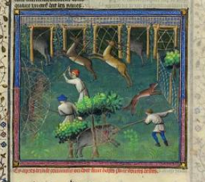 """Laying Hedges for Catching Game"" from Gaston Phoebus's Livre de la chasse, ca. 1407; MS M. 1044 (fol. 92)"