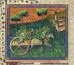 """Approaching Game with a Cart"" from Gaston Phoebus's Livre de la chasse, ca. 1407; MS M. 1044 (fol. 103)"