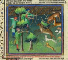 """Shooting with the Bow and Crossbow"" from Gaston Phoebus's Livre de la chasse, ca. 1407; MS M. 1044 (fol. 100v)"