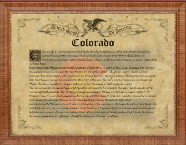 Colorado State Vintage History Flag In Custom Picture Frame