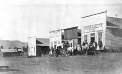 View of main street businesses in Animas City, 1880-1890