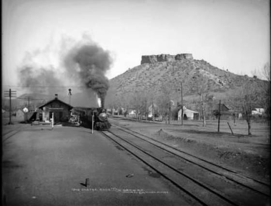 Castle Rock - Denver & Rio Grande Railroad passenger train heading south from stone depot at Castle Rock, 1902-1908