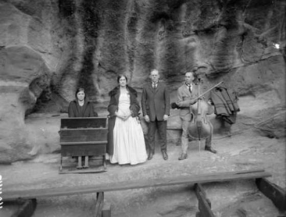 Morrison, Red Rocks - Four musicians pose for a photo at Red Rocks Amphitheater, 1910-1930