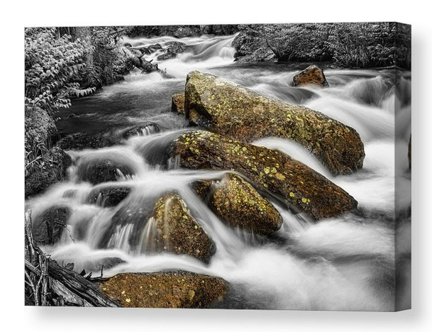 Cascading Water And Rocky Mountain Rocks Canvas Print