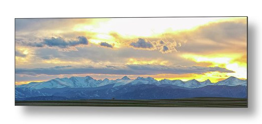 Rocky Mountain Lookout Sunset Panorama Metal Print