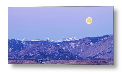Full Moon Setting Over The Colorado Rocky Mountains Metal Print