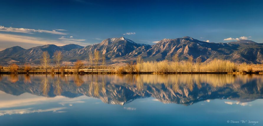 Flatirons Reflections Boulder Colorado Panorama Art Prints