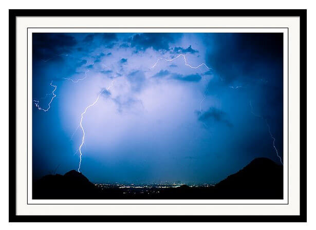 Lightning Rainbow Blues Framed Print