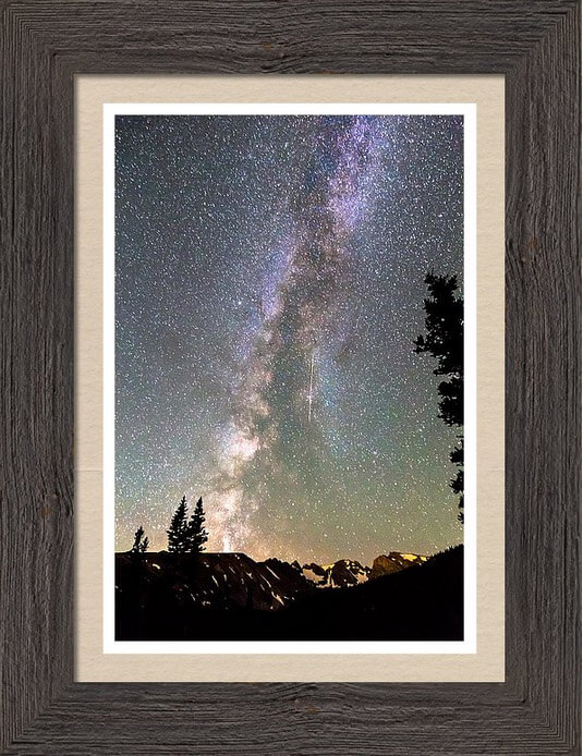 Rocky Mountain Milky Way And Falling Star Framed Print