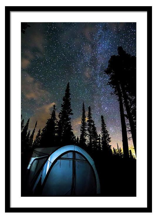 Camping Star Light Star Bright Framed Print