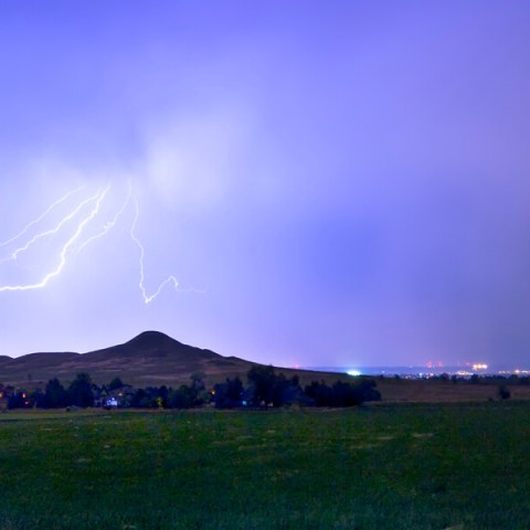 Anvil Lightning Striking Above Haystack Mountain Panorama