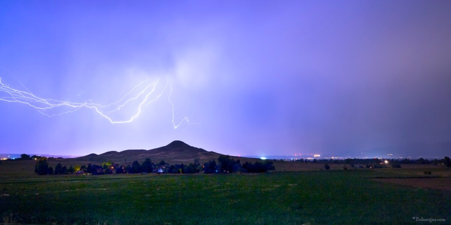 Anvil Lightning Striking Above Haystack Mountain Panorama Photography Prints