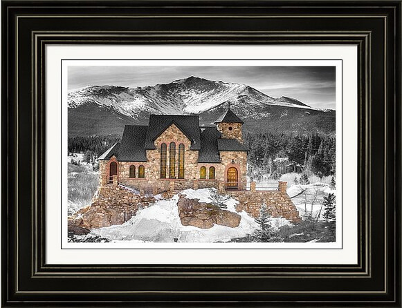 Chapel On The Rock Colorado Art Bwsc Framed Print