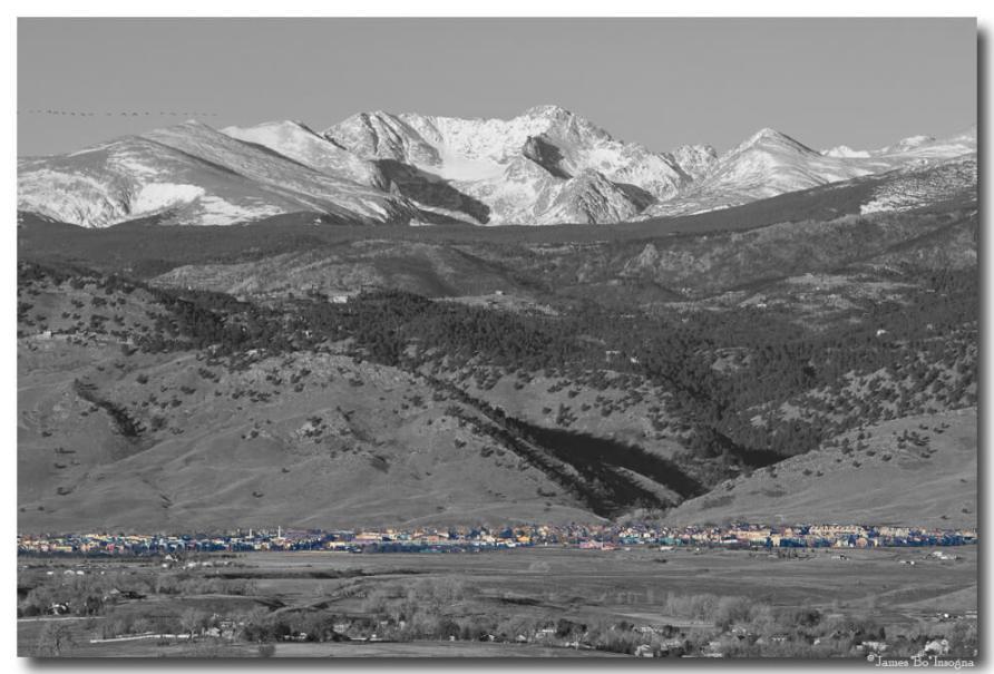 North Boulder Colorado Front Range View BW