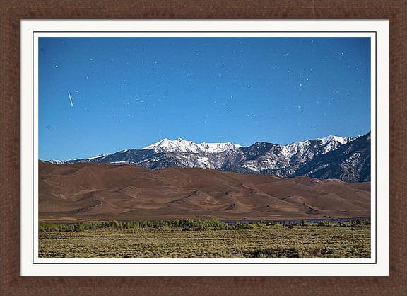 Colorado Great Sand Dunes With Falling Star Framed Print