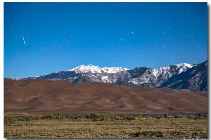 Colorado Great Sand Dunes with Falling Star