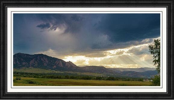 Beams Of Sunlight On Boulder Colorado Foothills Framed Print