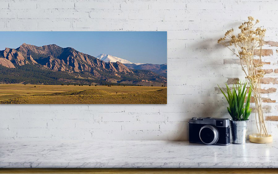 Flatirons And Snow Covered Longs Peak Panorama Art Print