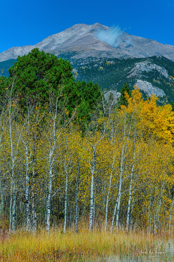 Colorado Mt Meeker Autumn Portrait Art Print - Portrait scenic view of the Colorado Rocky Mountains grand Mt Meeker elevation 12,911 in late September.