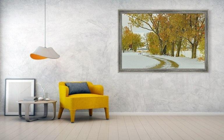 Snowy Autumn Day Framed Print