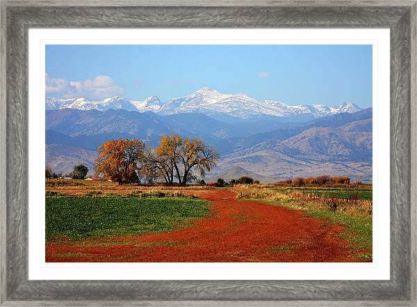Boulder County Colorado landscape Red Road Autumn View Framed Print