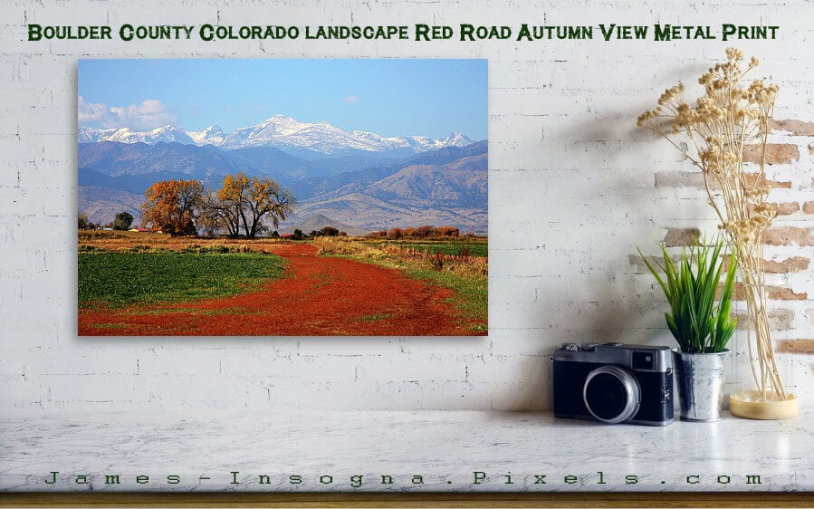 Boulder County Colorado landscape Red Road Autumn View Metal Print