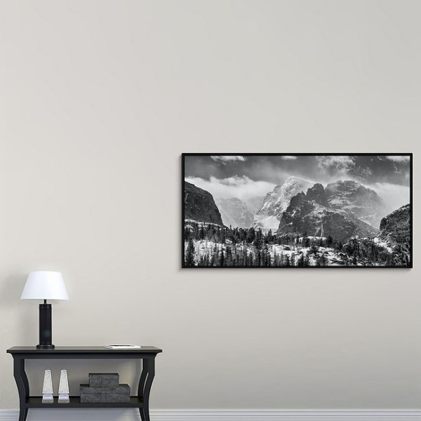 RMNP Gateway To The Rockies BW Canvas Black Frame Print 30x60