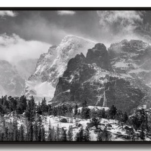RMNP Gateway To The Rockies BW Canvas Black Frame Print 30x60