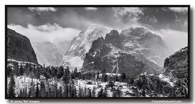 RMNP Gateway To The Rockies BW Large Canvas Black Frame Print 30x60