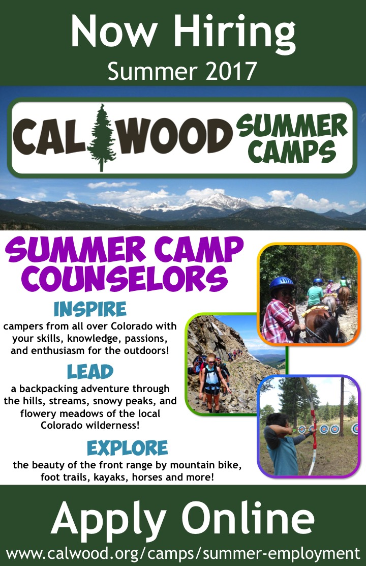 COSA HIRING Summer Camp Counselors CalWood Education Center  Colorado Open Space Alliance