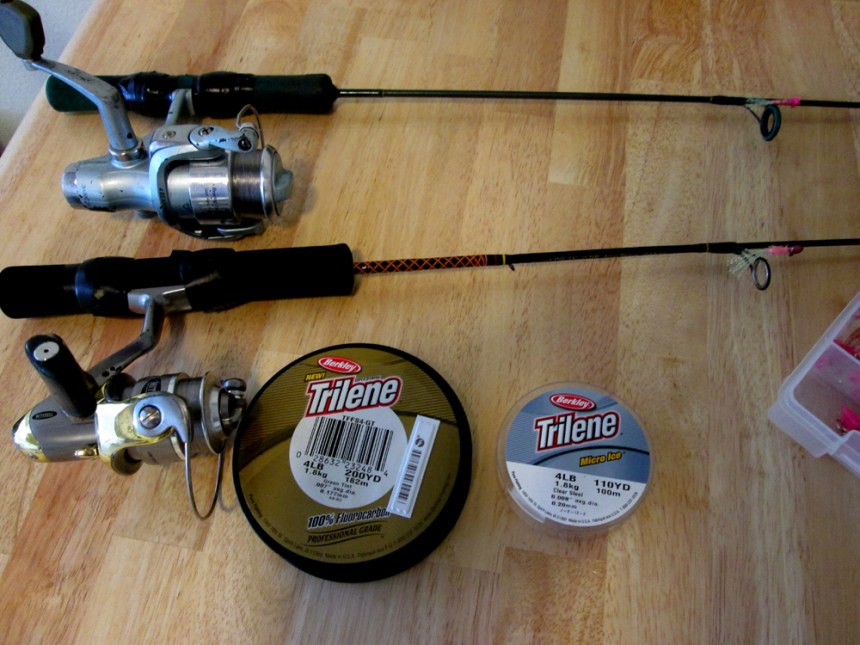Ice fishing rods, reels and line. Photo by Brian Marsh.