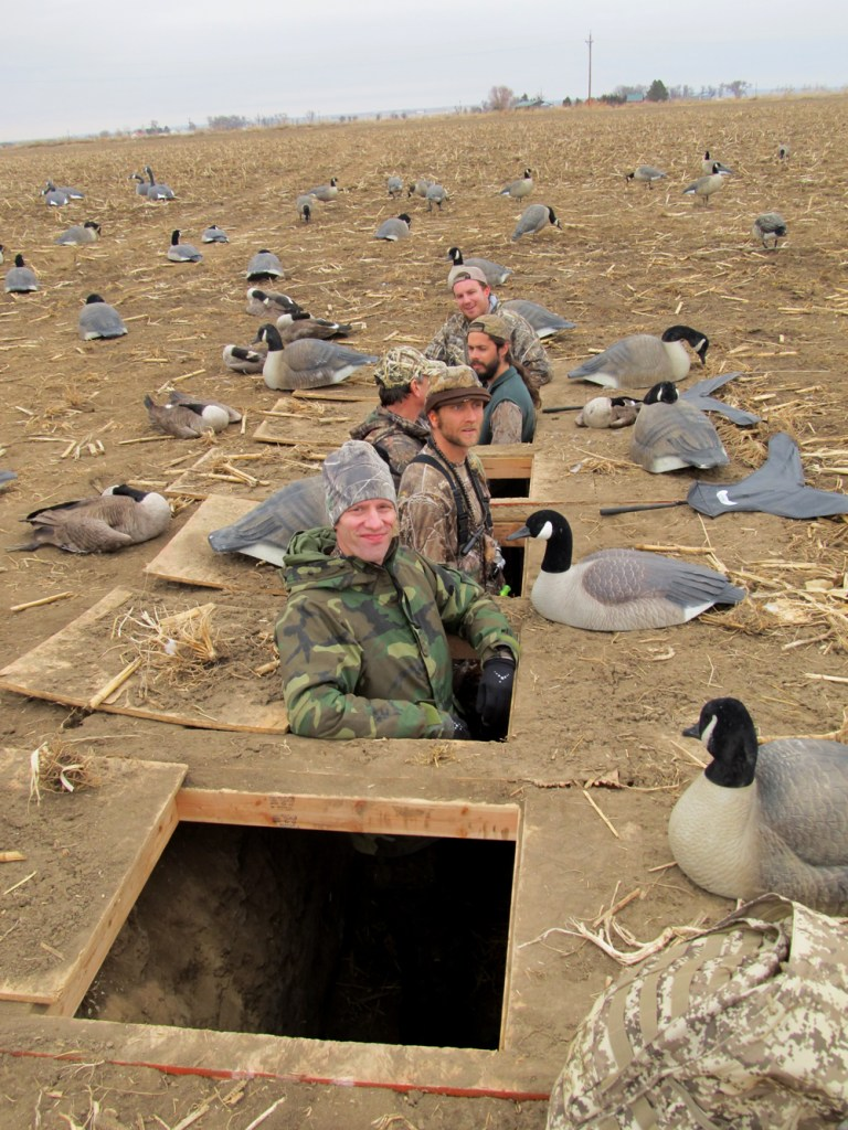David Lien and Tim Brass prepare for a busy day in the goose blind.