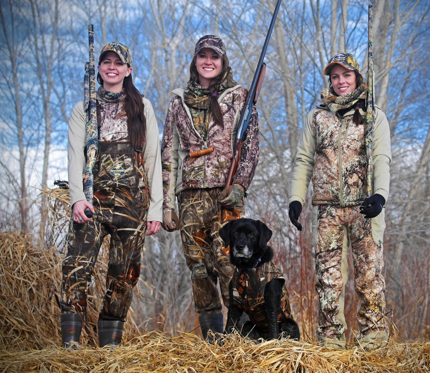Cathy Brons, Randi Clark and Megan Lacey on a duck hunt in northeast Colorado