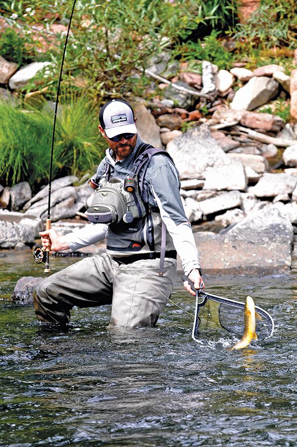 Angler landing trout