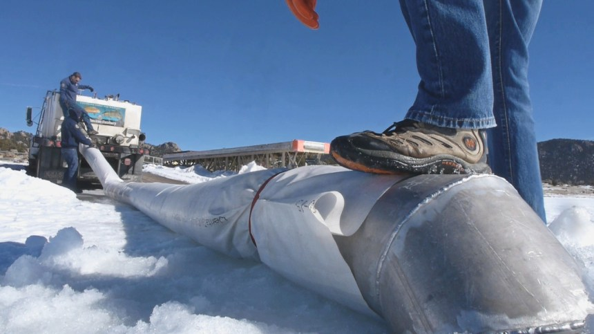 A temporary, canvas pipeline transports the fish from the hatchery truck through the ice.