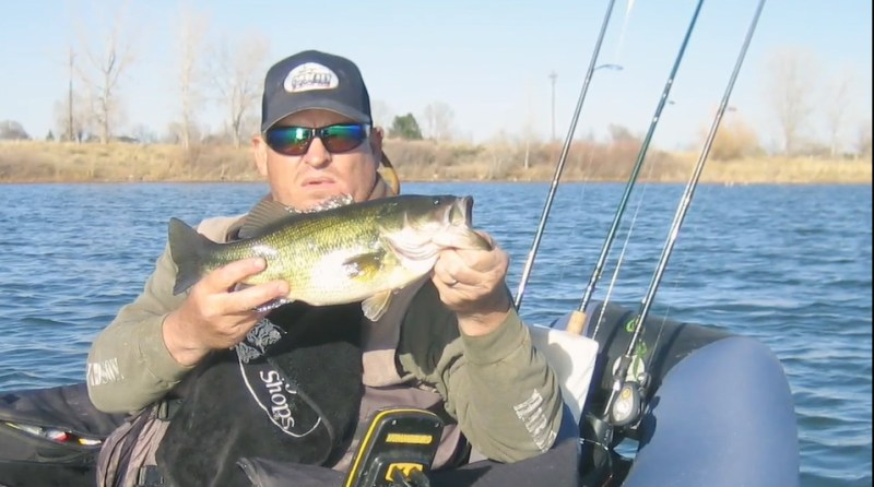 Jeff Nielsen with a belly boat bass