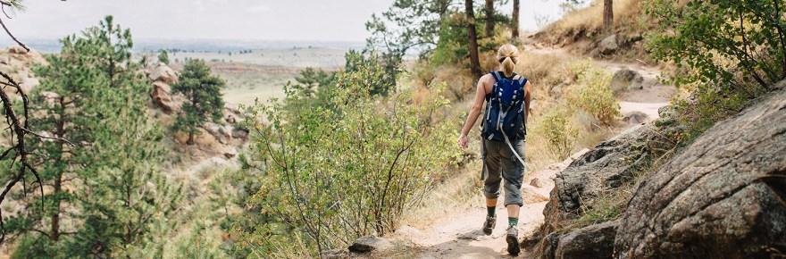 Hiker on Arthur's Rock Trail
