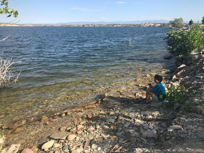 Natalie shore fishing at  Lake Pueblo State Park.