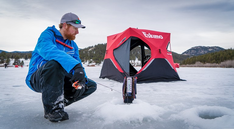 Ice fishing at evergreen lake