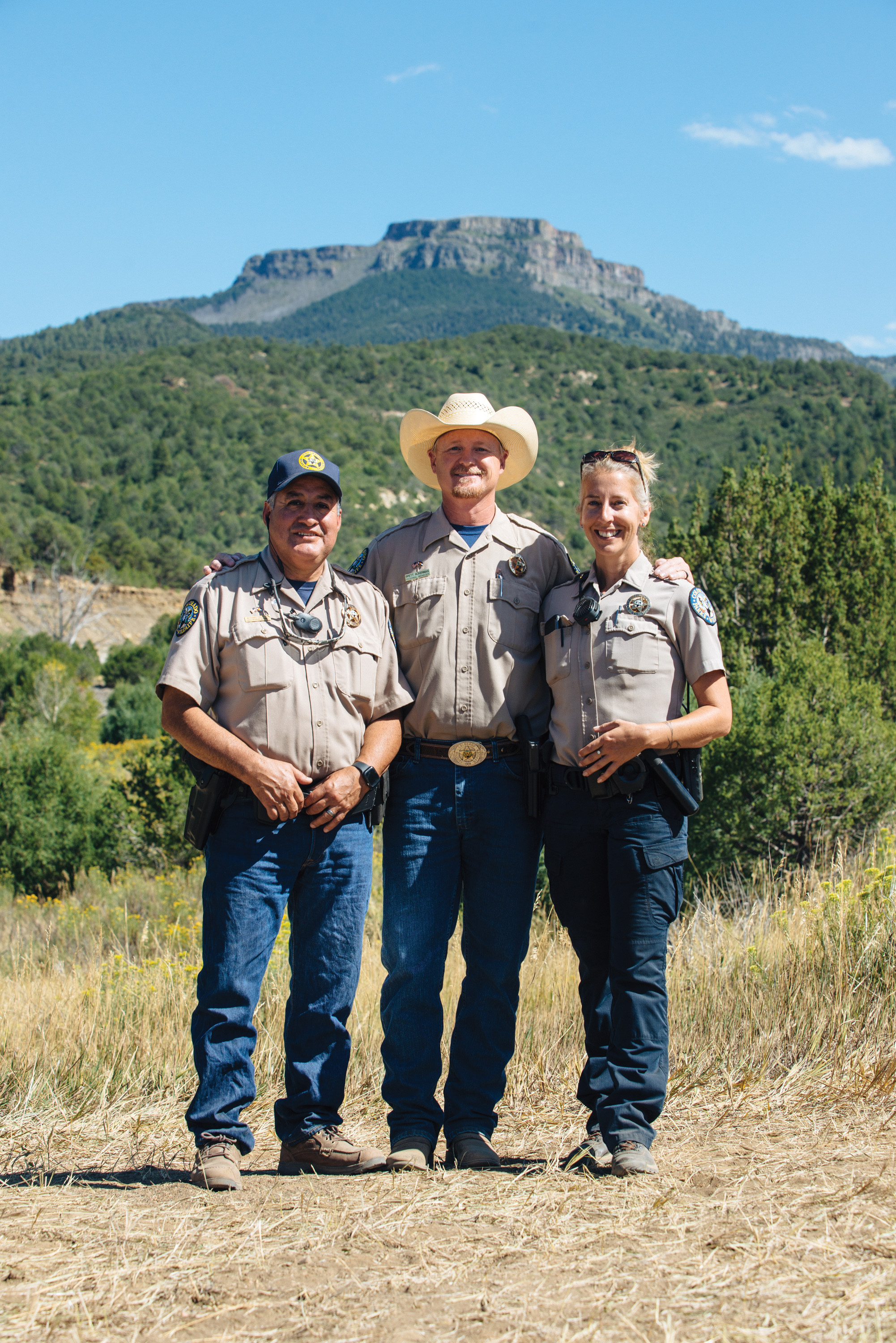 From left: Area Wildlife Manager Michael Trujillo, Southeast Regional Manager Brett Ackerman and Park Manager Crystal Dreiling.