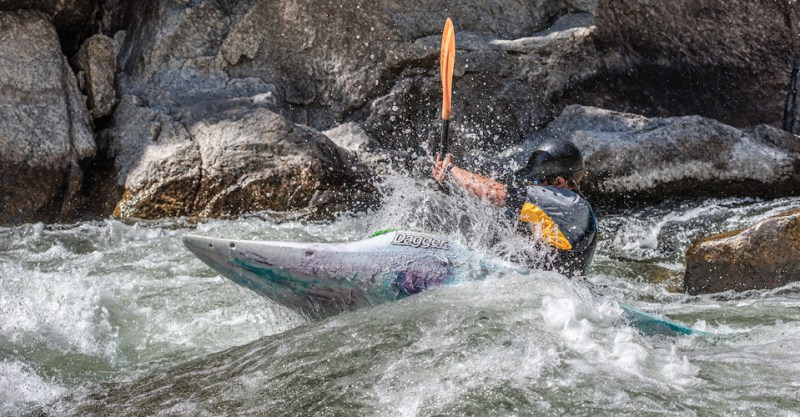 Arkansas Headwaters Recreation Area Man in Kayak in Rapids
