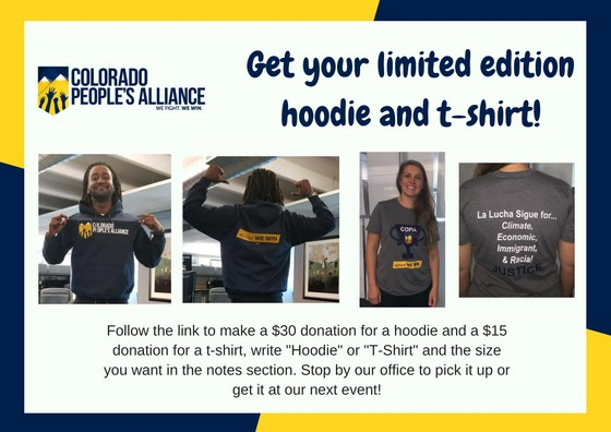 COPA hoodies and t-shirts. Colorado People's Alliance. Donate