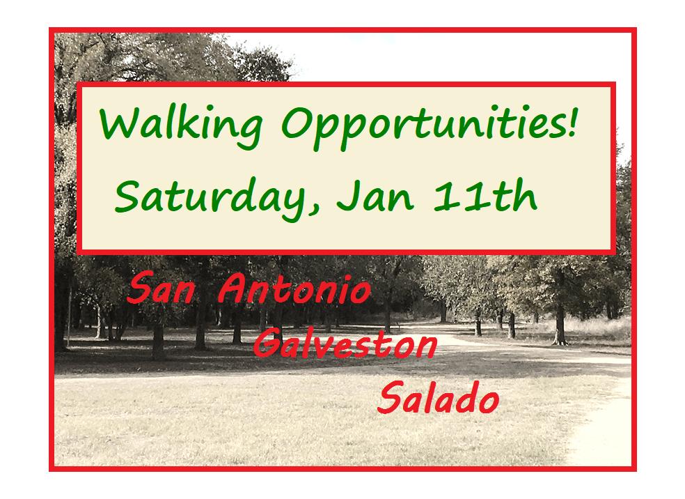 Three Walking Opportunities on Sat, Jan 11th