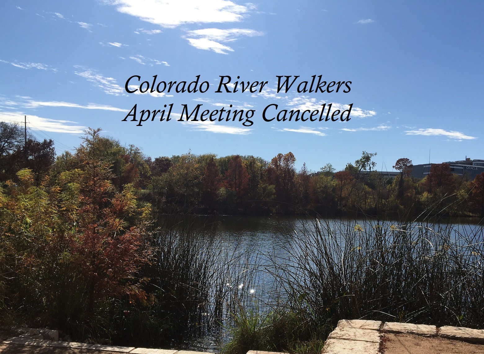 April CRW Meeting Cancelled