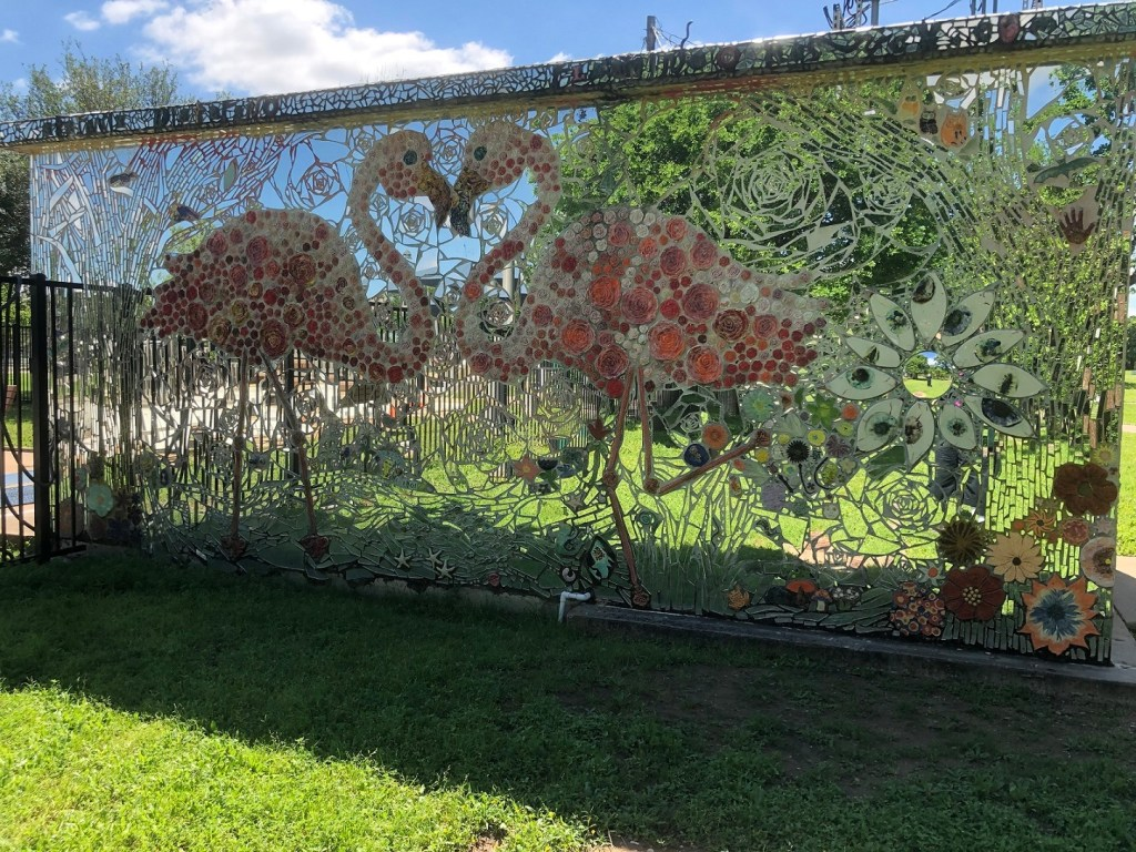 Flamingo mosaic in Patterson Park in Austin