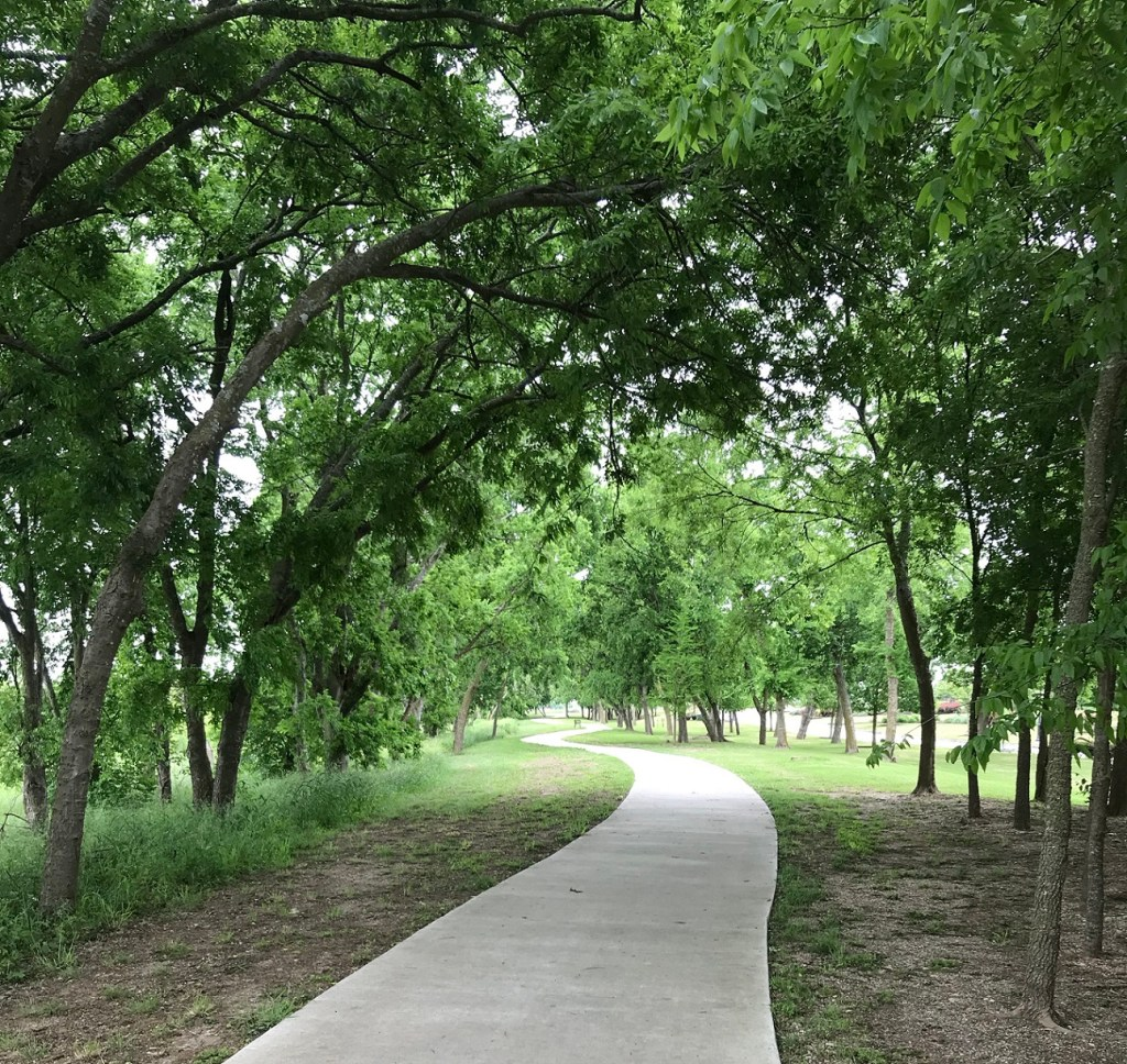Vizcaya in Round Rock, view of hiking trail shadowed by trees