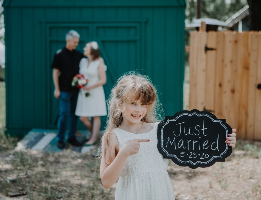 Rosie with Just Married sign at Tiny T Ranch