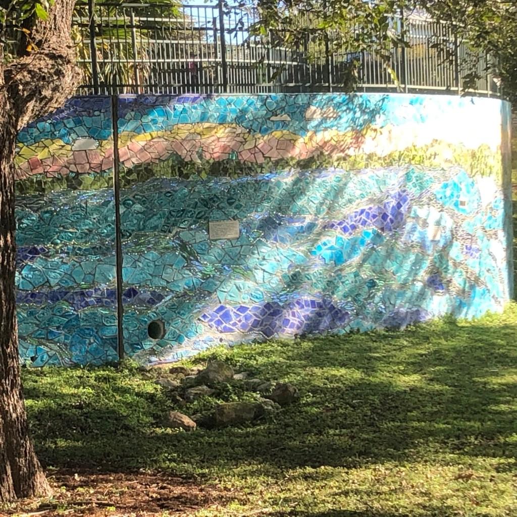 Mosaic on wall by Deep Eddy Pool.