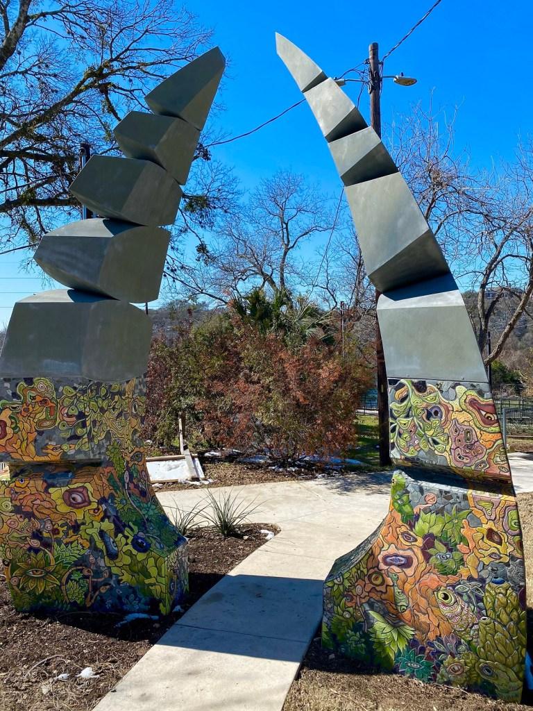sculpture in Deep Eddy park in Austin