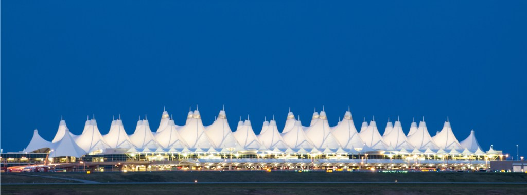 Denver International Airport at night